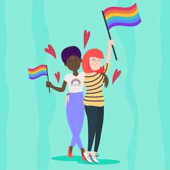 Flaches design lesbenpaar mit lgbt flagge illustriert