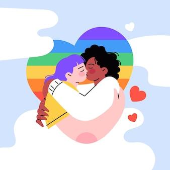 Flaches design liebevoller lesbischer kuss