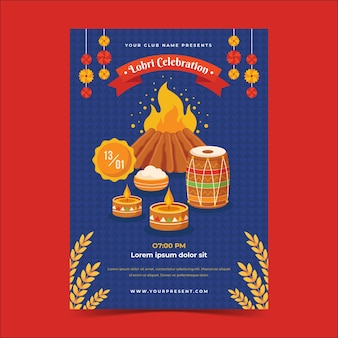 Flaches design lohri illustriertes plakat