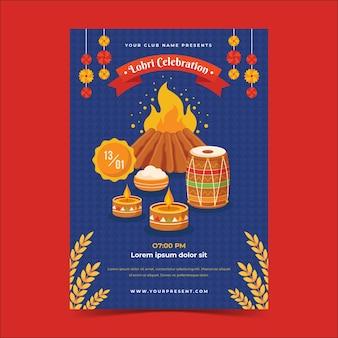 Flaches design lohri illustriertes plakat