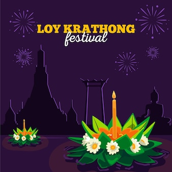 Flaches design loy krathong