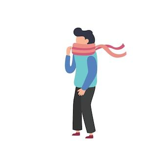 Flaches design mann verwendet einen schal und eine jacke