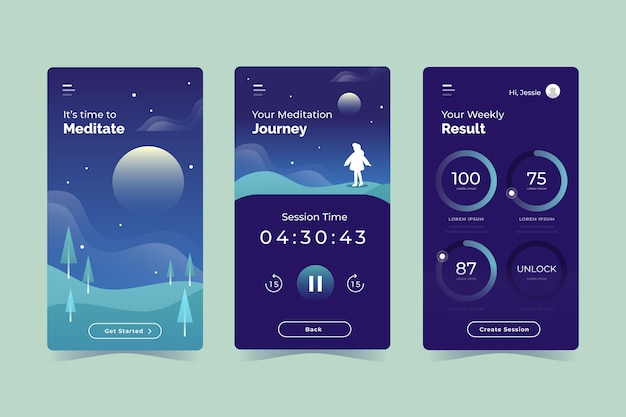 Flaches design meditations-app-set