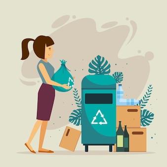 Flaches design menschen recycling