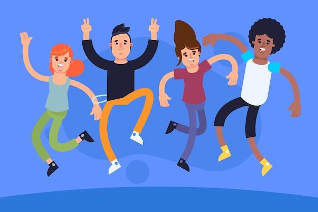 Flaches design menschen springen illustriert
