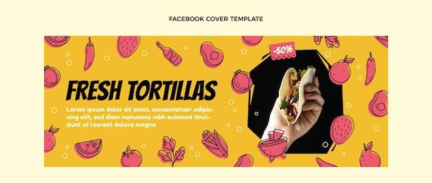 Flaches design mexikanisches essen facebook-cover