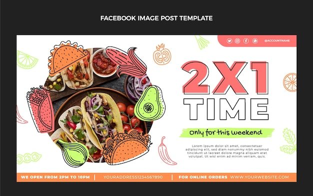 Flaches design mexikanisches essen facebook-post