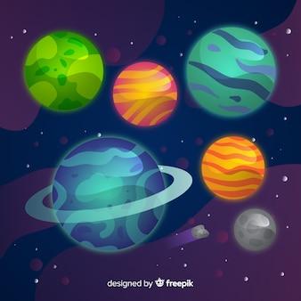 Flaches design milchstraße planeten sammlung