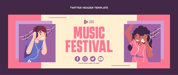Flaches design minimal music festival twitter header