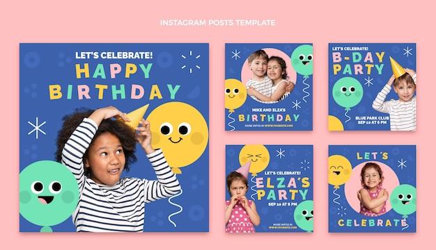 Flaches design minimale geburtstags-ig-posts