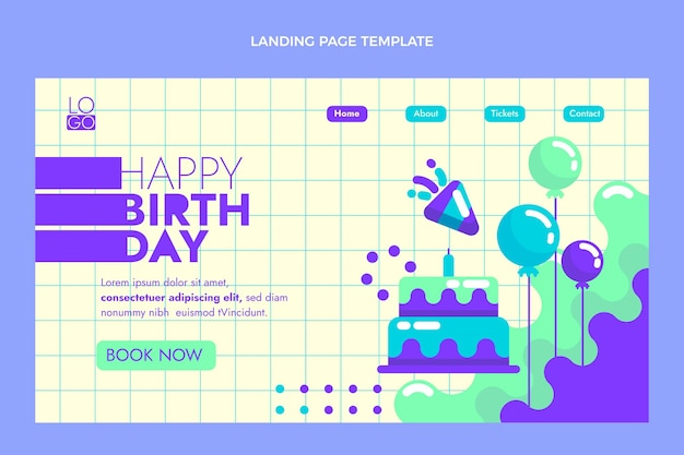 Flaches design minimale geburtstags-landingpage