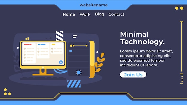 Flaches design minimale technologie-webvorlage