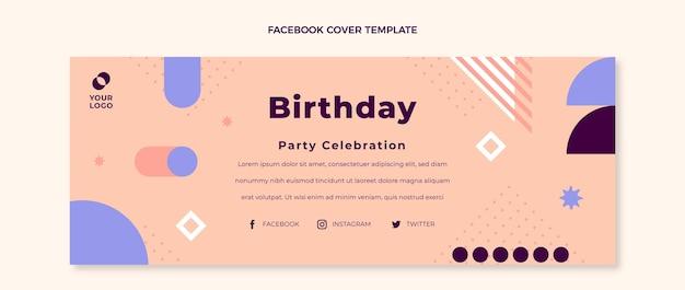 Flaches design minimales geburtstags-facebook-cover