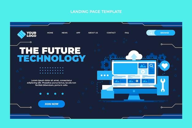 Flaches design minimalistische technologie-landingpage