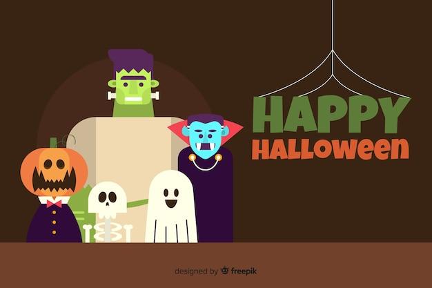 Flaches design mit glücklichem halloween-hintergrund