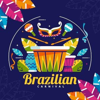 Flaches design mit karneval elementen