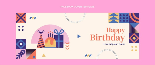 Flaches design-mosaik-geburtstags-facebook-cover