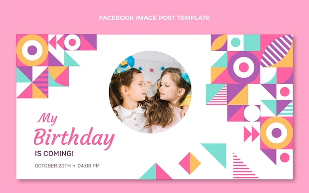 Flaches design-mosaik-geburtstags-facebook-post