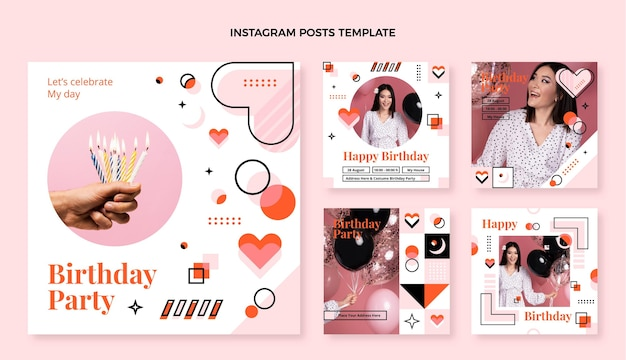 Flaches design-mosaik-geburtstags-instagram-post