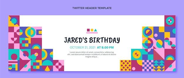 Flaches design-mosaik-geburtstags-twitter-header