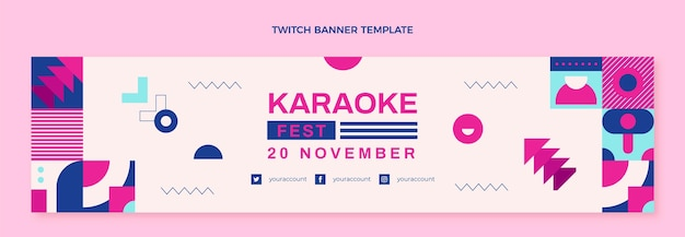 Flaches design mosaik-musik-festival-twitch-banner