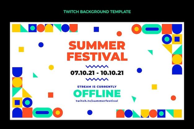 Flaches design mosaik-musik-festival-twitch-hintergrund