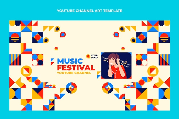 Flaches design mosaik-musikfestival-youtube-kanal