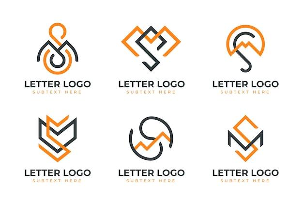 Flaches design ms logo template sammlung