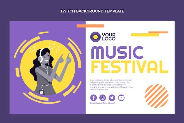 Flaches design musikfestival zuckender hintergrund