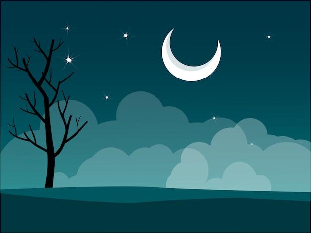 Flaches design nachtlandschaft mit halbmond und sternen im bewölkten himmel