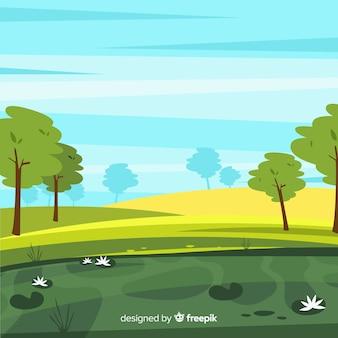 Flaches design naturlandschaft hintergrund