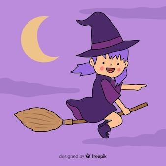 Flaches design netter halloween-hexe