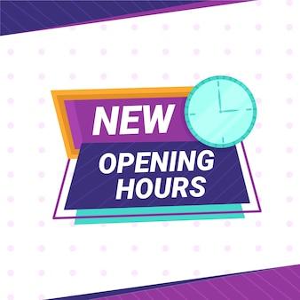 Flaches design neues öffnungszeitenzeichen