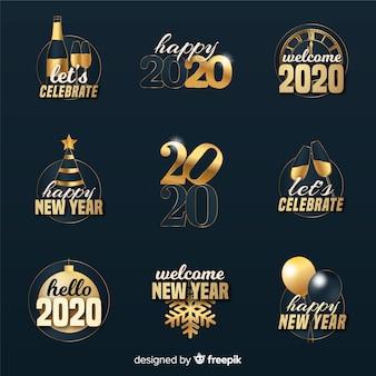 Flaches design neujahr 2020 abzeichen sammlung