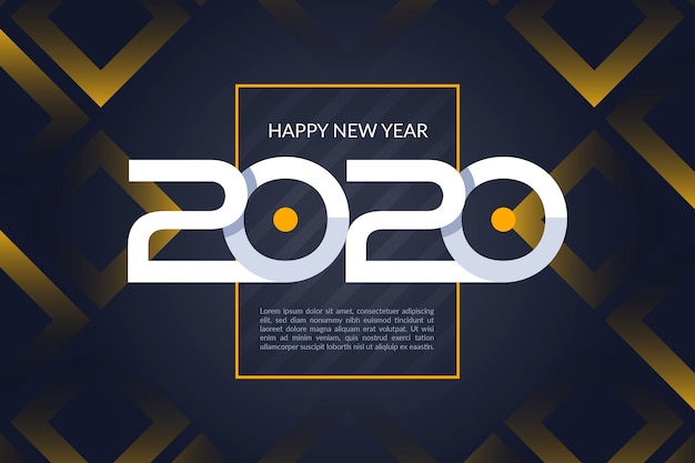 Flaches design neujahr 2020 hintergrund