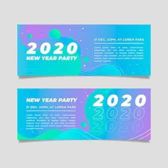 Flaches design neujahr 2020 party banner pack