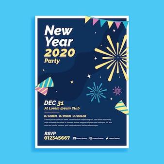 Flaches design neujahr 2020 party flyer vorlage