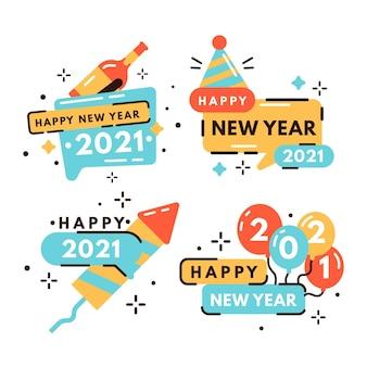 Flaches design neujahr 2021 etiketten