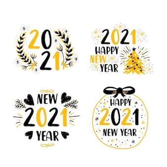 Flaches design neujahr 2021 etikettenpaket