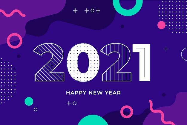 Flaches design neujahr 2021 hintergrund
