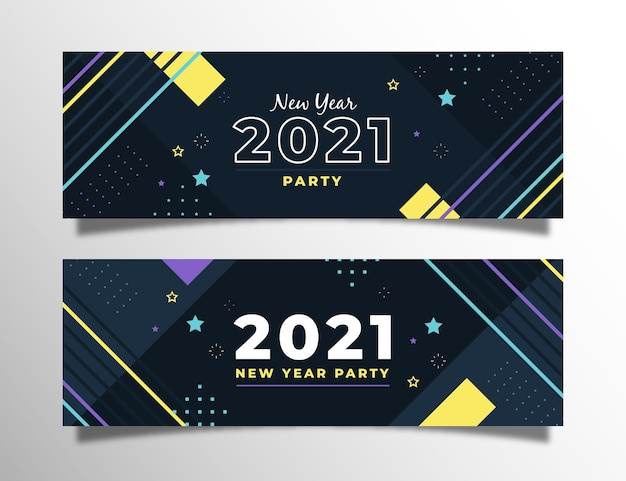 Flaches design neujahr 2021 party banner gesetzt
