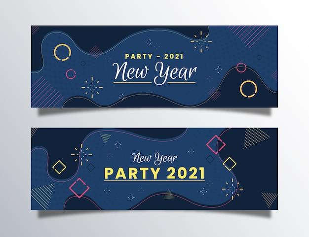 Flaches design neujahr 2021 party banner sammlung