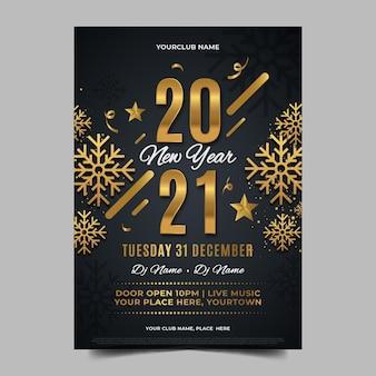 Flaches design neujahr 2021 party poster vorlage
