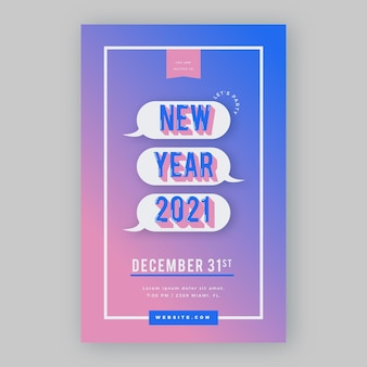 Flaches design neujahr 2021 party poster vorlage