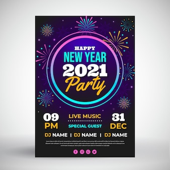 Flaches design neujahr 2021 party vorlage poster