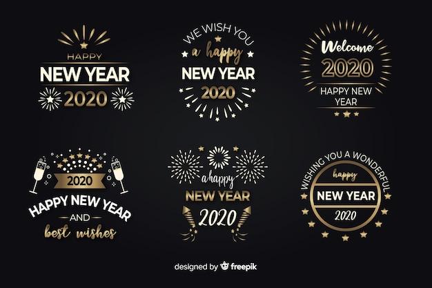 Flaches design neujahr abzeichen sammlung