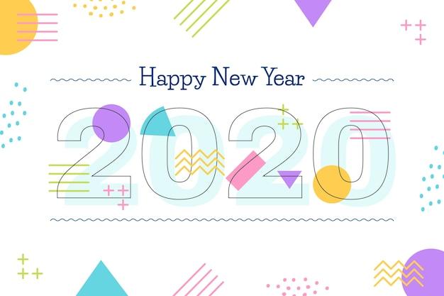 Flaches design neujahr hintergrund