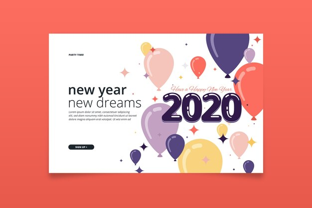 Flaches design neujahr landing page vorlage