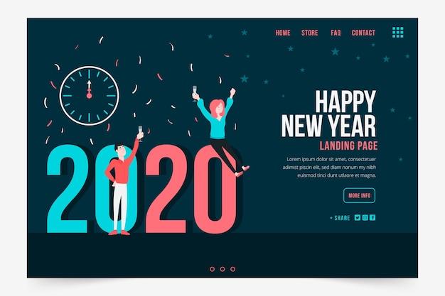 Flaches design neujahr landing page