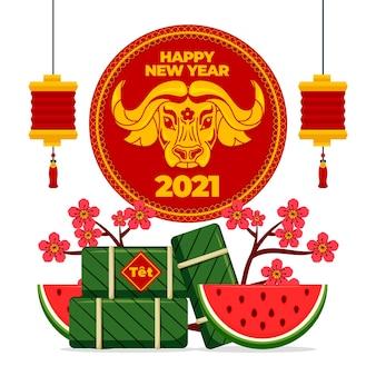 Flaches design-neujahr mit wassermelone